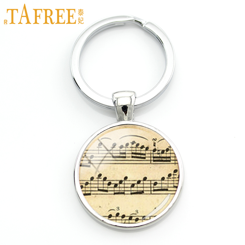 TAFREE Vintage Charm Music Sheet Notes Key Chain Music Lovers Elegant Keychain Accessories Musician Favorite Jewelry Gift KC213 цены онлайн
