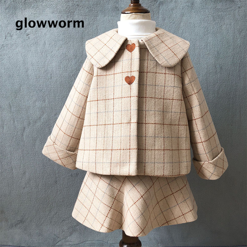 Glowwormkids Autumn Winter Baby Girl Suit Plaid Printing Long Sleeve Coat Dress Without Sleeve hs101 long sleeve button down plaid midi flannel shirt dress