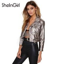 SheInGirl 2016 Autumn New Women Punk Faux Leather Coat Silver Belt Zipper Biker Jacket Short Jacket for wholesale free shipping