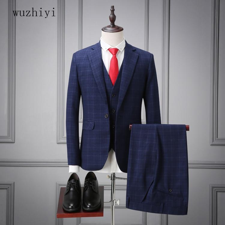 wuzhiyi High quality terno masculino slim fit men suit beige mens suit Cusotm made mens suits wedding groom Wedding Suit Man