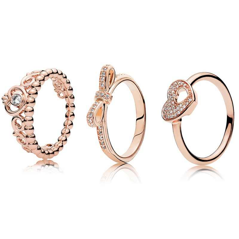 3 Style 1 Pcs Women 925 Sterling Silver Rings Jewelry Crown Bowknot Heart Style Rose Gold Color Ring For Women Jewelry