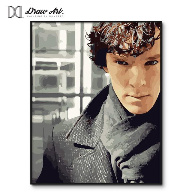 Sherlock Holmes Poster DIY Frame Painting By Numbers Oil Paint Wall Art Pictures Decor For Home Decoration
