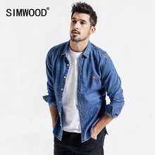 SIMWOOD 2020 Denim Shirts Men New Fashion Brand Long Sleeve Casual Men Shirts Letter Embroidered Shirt camisa masculina 190072