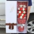 Nueva hechos a mano Wedding ramo de novia peluche ramo ramo del oso de peluche muñeca de dibujos animados jabón Rose Valentine / regalo de la graduación