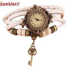 SunWard Watch Lady Excessive High quality relogio feminino Quartz Weave Round Leather-based Key Bracelet Woman Wrist Watch M170404