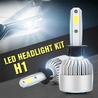 2 adet LED araç Far Kiti H1 Araç Ampüller Lambalar Işıklar değiştirin halojen Otomobil Far DC 12 V 6500 K 200 W 20000LM Beyaz