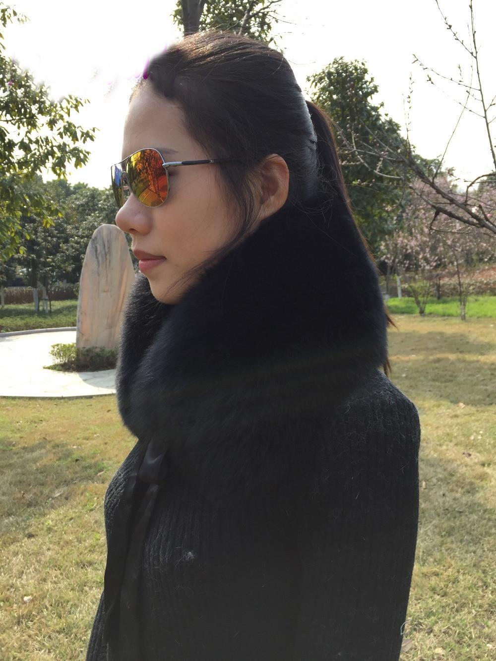 MLHXFUR 100% Real Women Fox Fur Collar Scarf Genuine Men Fur Collars Scarves Neckwarmer Girls Boys Black Fur with Ribbon
