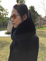 MLHXFUR 100% Real Women Fox Fur Collar Scarf Genuine Men Fur Collars Scarves Neckwarmer Girls Boys Black Fur with Ribbon