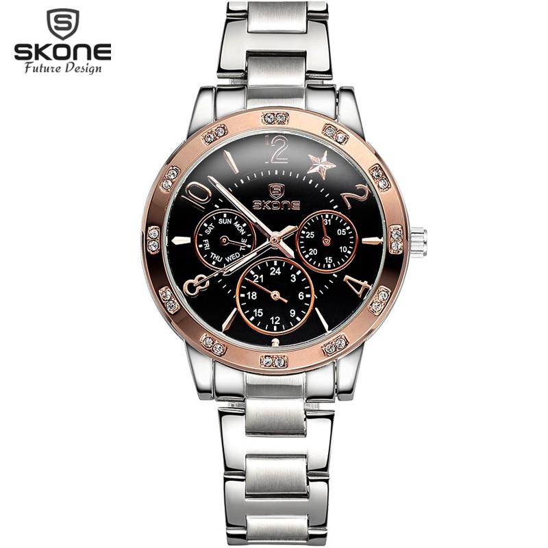 Luxury New Brand SKONE Full Steel Wristwatches for Women Real 3 Eye Luminous Fashion Quartz Dress Watches Feminino Relojes Mujer