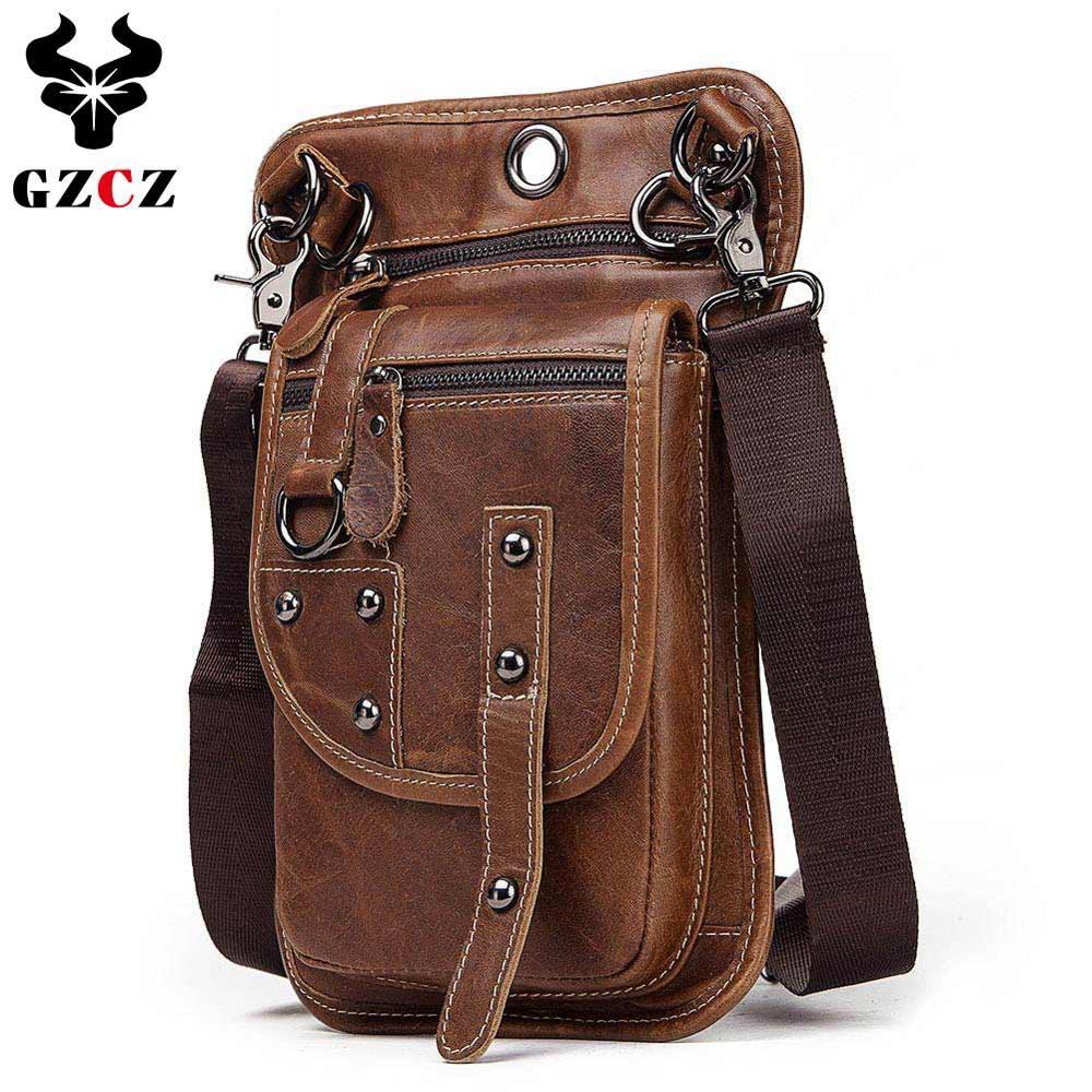 GZCZ sac fourre-tout 100% en cuir véritable Messenger sac décontracté épaule croix corps sac à main poitrine sac pour homme réel petit Slim 2019