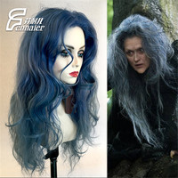 Movie Into the Woods Cosplay Wig Magic Black Forest Witch Kinky Curly Gray Blue Long Synthetic Hair 70cm Adult Cosplay Wigs+Wig