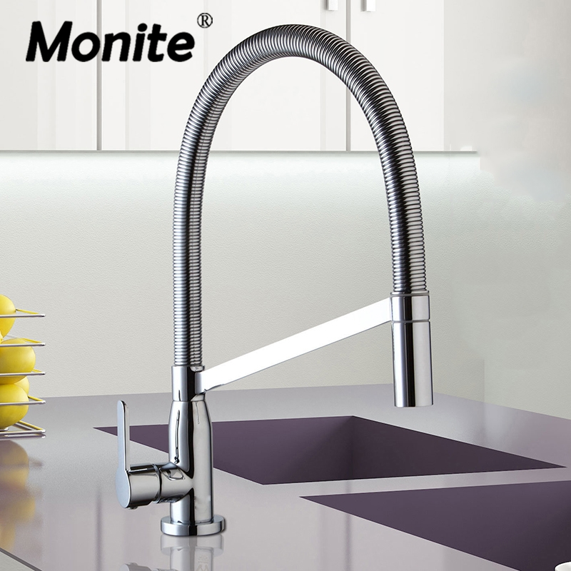 Monite 360 Swivel Spray Chrome Brass Taps Deck Mounted Vessel Sink Mixer Tap Kitchen Basin Sink Faucet Hot Cold Water Mixer Tap цена