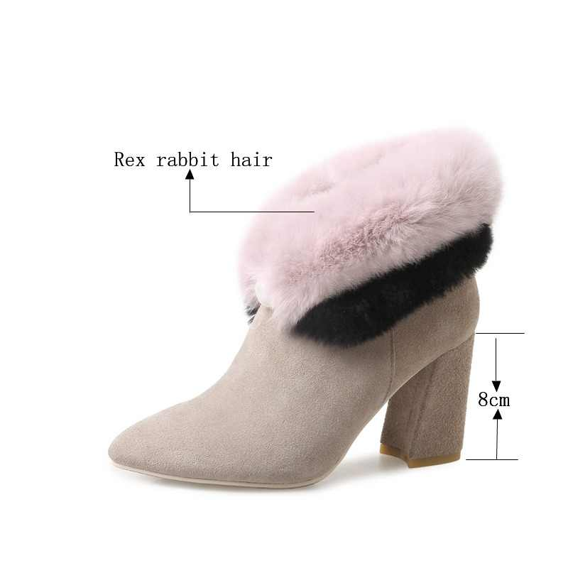 2019 Genuine Leather Contrast Color Pink Beige Super High Heel Ankle Boots For Women 8cm Square Heels Winter Boots Ladies Shoes