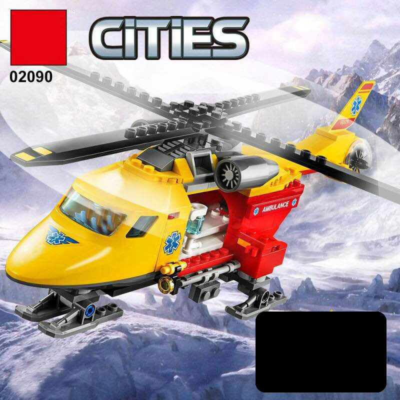 Lepin 02090 City Series The Ambulance Helicopter Set LegoINGlys 60179 Building Blocks Bricks Educational Toys For Kids As Gifts lepin 16002 2791pcs modular pirate ship metal beard s sea cow building block bricks set toys legoinglys 70810 for children gifts