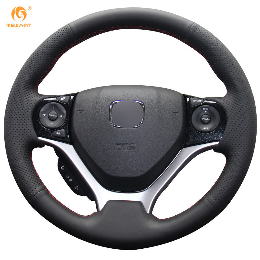 MEWANT Black Artificial Leather Car Steering Wheel Cover for Honda Civic Civic 9 2012-2015