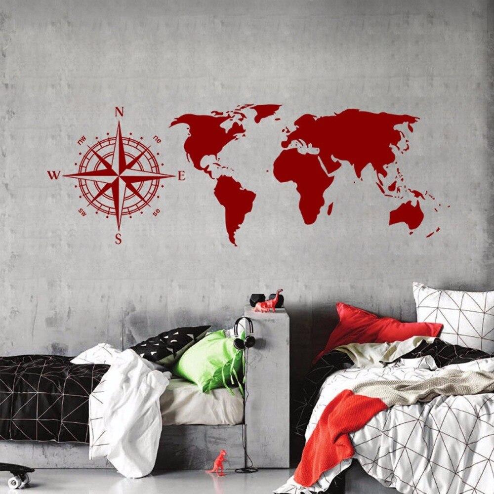 Wall art design waterproof Compass wall sticker sailing GPS world map wall art mural picture of living room decoration