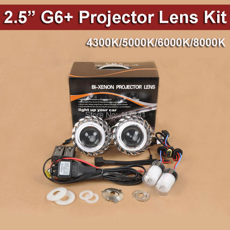 Free Shipping G6+ Double Angel Eyes 2.5 HID Bixenon Projector Lens Kit with 35W HID Xenon Lamp 4300K-8000K Car Styling Light 2 5inch bixenon projector lens with drl day running angel eyes angel eyes hid xenon kit h1 h4 h7 hid projector lens headlight