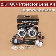 Бесплатная доставка G6 + двойной Ангельские глазки 2.5 HID Биксенон объектив проектора комплект с 35 Вт ксеноновые лампы 4300 К -8000 К стайлинга автомобилей свет