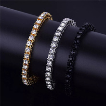 Ice drill Zircon Tennis Chain Bracelet Men's Hip hop Jewelry Copper Material Gold Silver Box Clasp CZ Bangles Link 19cm