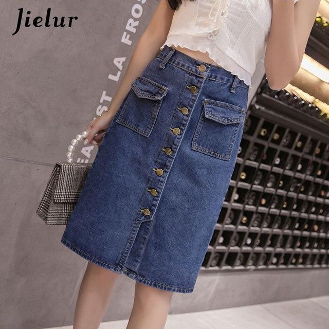 Jielur Korean Fashion High Waist Skirt Plus Size Buttons Pockets Classic  Jeans Skirt for Women S-5XL Elegant Jupe Femme Dropship 6ca115766942