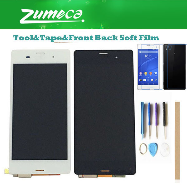 5.2 Inch For <font><b>Sony</b></font> Xperia <font><b>Z3</b></font> L55t <font><b>D6603</b></font> D6653 <font><b>Sony</b></font> <font><b>Z3</b></font> LCD Display+Touch Screen Digitizer White Black Color+Kits image