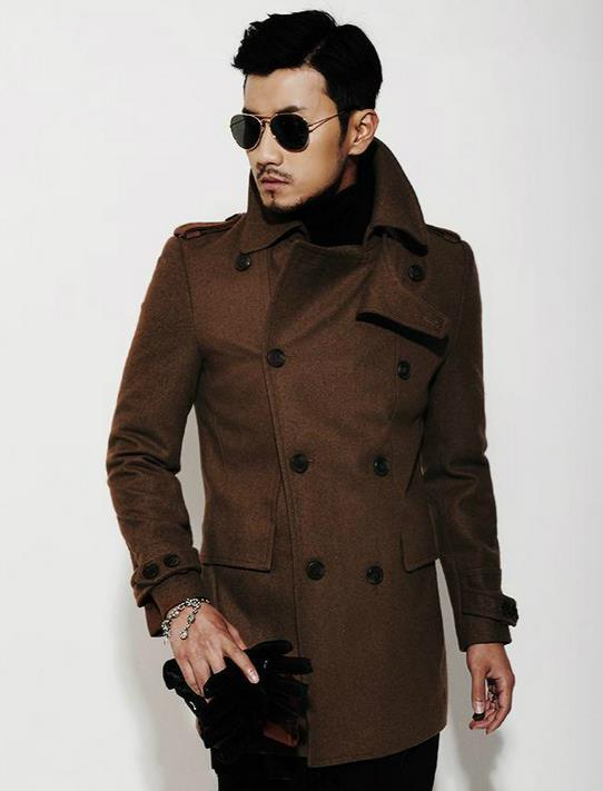 Popular Brown Wool Pea Coat-Buy Cheap Brown Wool Pea Coat lots