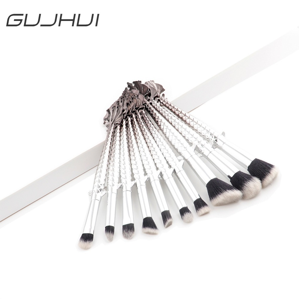 10Pcs/Set Mermaid Makeup Brush Fish Tail Foundation Powder Eye Shadow Make Up Brushes Contour Blending Cosmetic Tool #254527 10pcs tooth brush shape oval makeup brush set multipurpose makeup brushes professional foundation powder brush kits make up tool