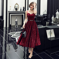 2019 Vestido De Festa New Design Sexy Formal Dress Burgundy Sweetheart Long Evening Dresses Reflective Dress LF212