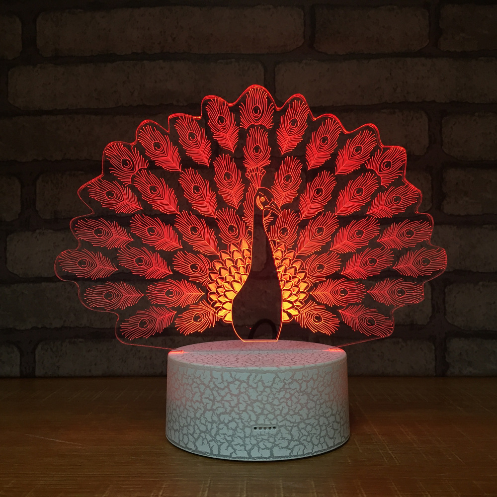 Peacock Night Light Lamp 3D LED Lamp 7 Colorful Table Lamp For Kids Christmas Gift White Base with Touch Switch Remote Control 45x45 025
