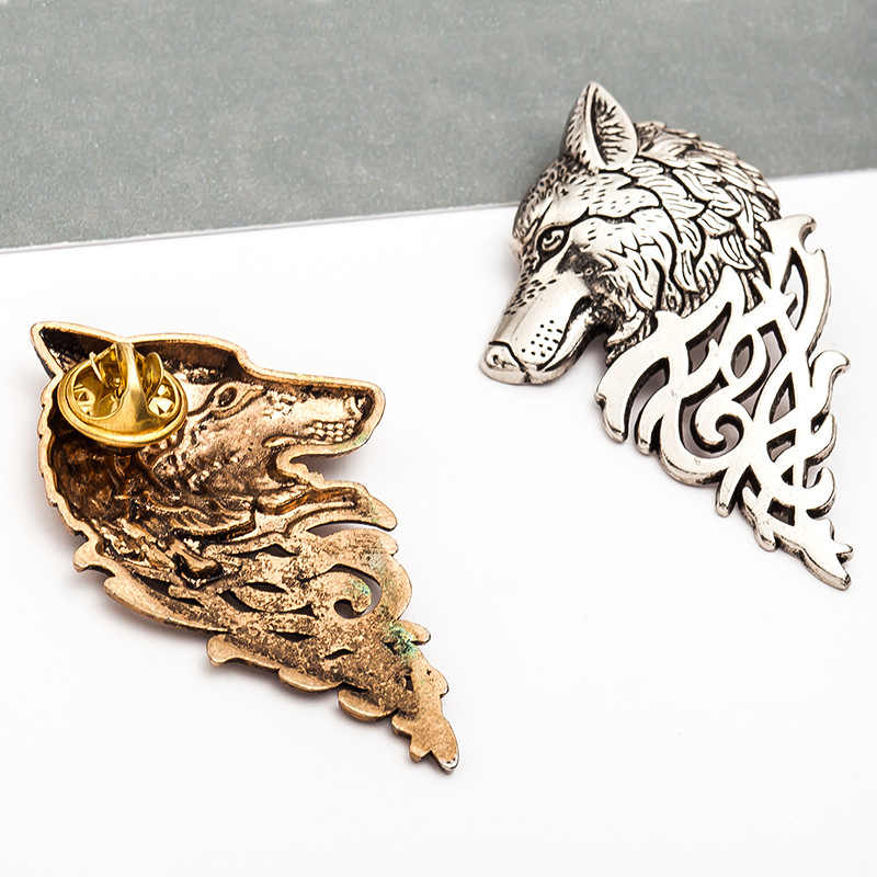 Gold and Silver Brooch Pin alloy collar Brooch classical Langtou female fashion jewelry brooch men and women broach animal
