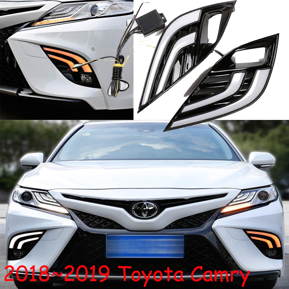 car styling,2018 2019year,Camry daytime light,Free ship! camry fog light,chrome,Hiace,tundra,sienna,camry headlight