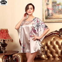 Spring And Summer Women Silk Sleepwear Tracksuit Printed Flower Loose Nightgown White Gray Pink Three Color Options Nightdress