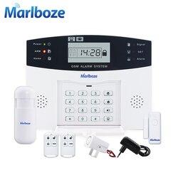 Control remoto sensor de puerta inalámbrico de voz sistema de alarma GSM para el hogar pantalla LCD Kit de sirena con cable SIM SMS alarma