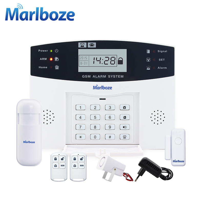Metalen Afstandsbediening Voice Prompt Draadloze deur sensor Home Security GSM Alarm systems LCD Display Bedrade Sirene Kit SIM SMS alarm