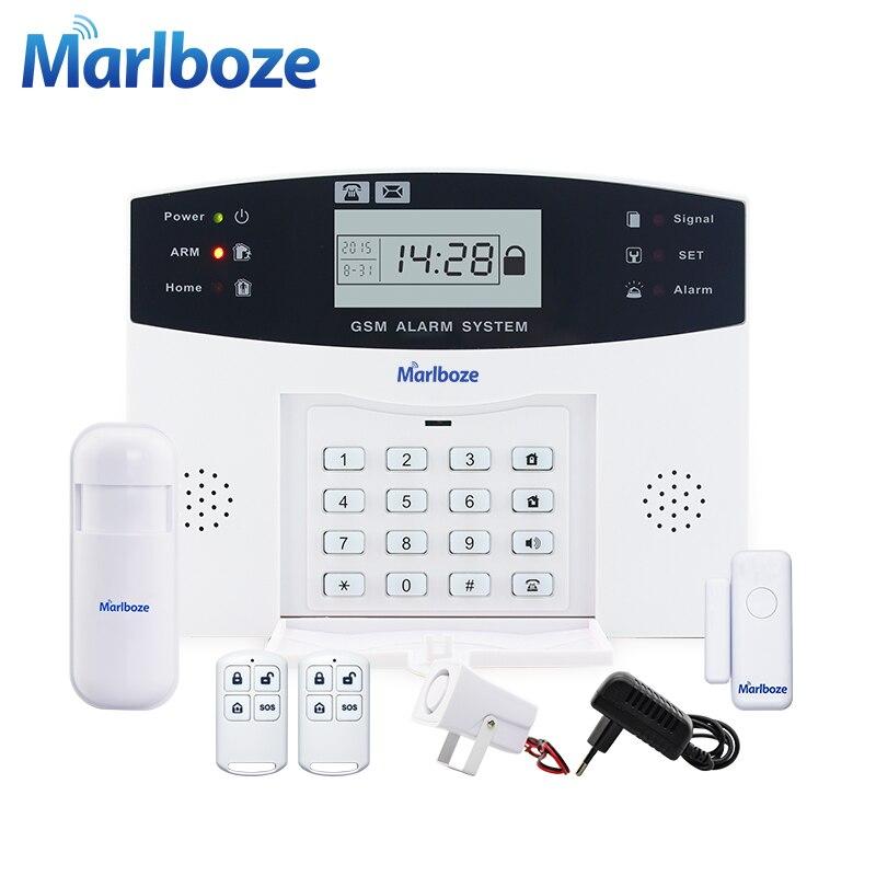 Voz Prompt de Metal Controle Remoto Sem Fio da porta sensor Home Security GSM Display LCD sistemas de Alarme Com Fio Sirene Kit SIM SMS alarme