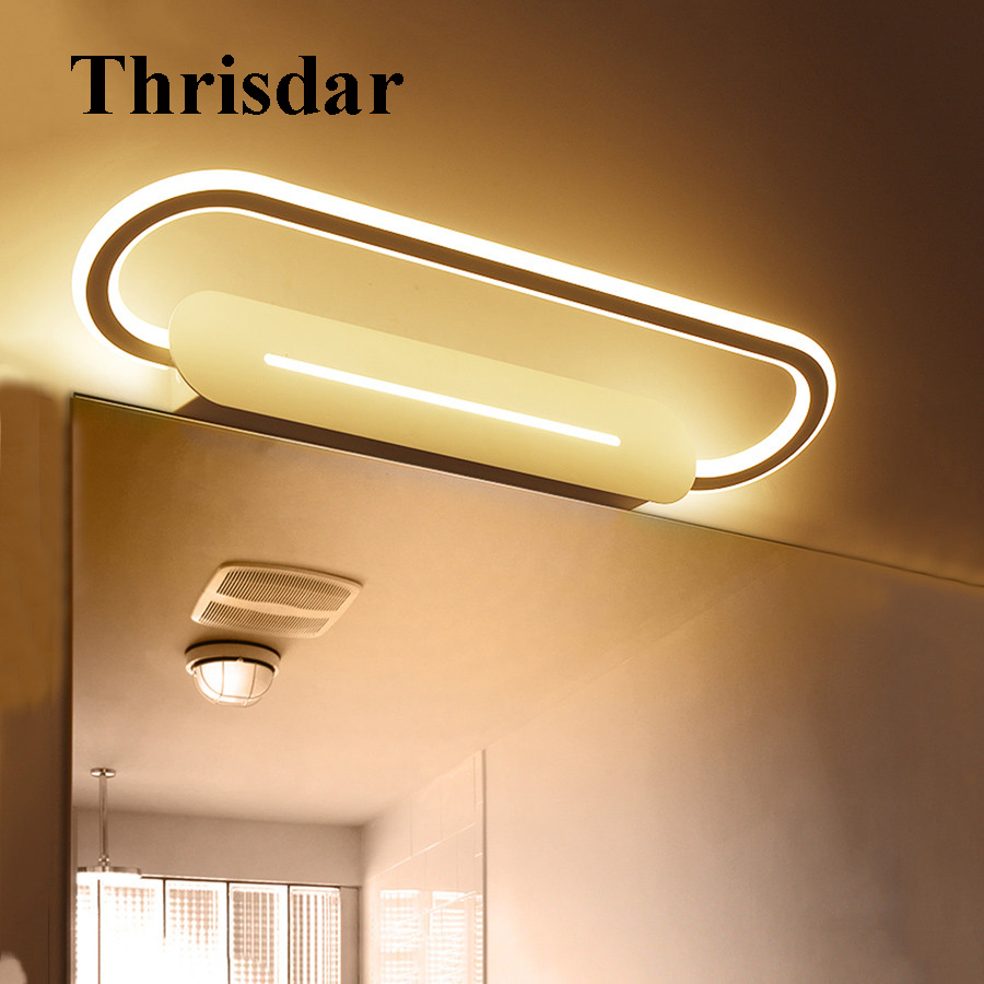 Thrisdar New Arrival LED Bathroom Mirror Wall Light 46CM 17W Makeup Dressing Table Mirror Wall Lamps Cabinet Vanity Mirror Light wooden dressing table makeup desk with stool oval rotation mirror 5 drawers white bedroom furniture dropshipping