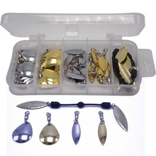 37pcs soft rotating link line and ball bearing swivels with willow colorado blades fishing lures  customization box