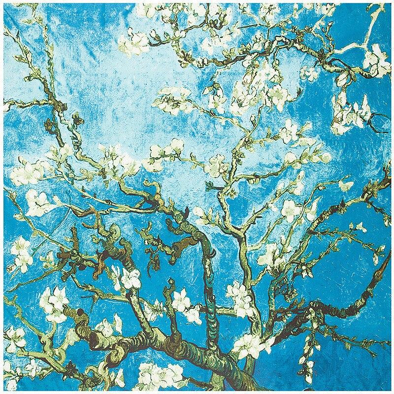 Van Gogh Oil Painting Square Scarf Apricot Flower 2020 New Brand Women Winter Silk Scarf,Twill Print Turban Headband Large Hijab
