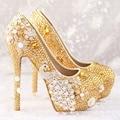 Желтый Бриллиант Дизайн Круглого Toe 14 СМ Тонкие Высокие Каблуки женские Свадебные Туфли 2017 Новых Прибытия Моды Красивый Элегантный насосы