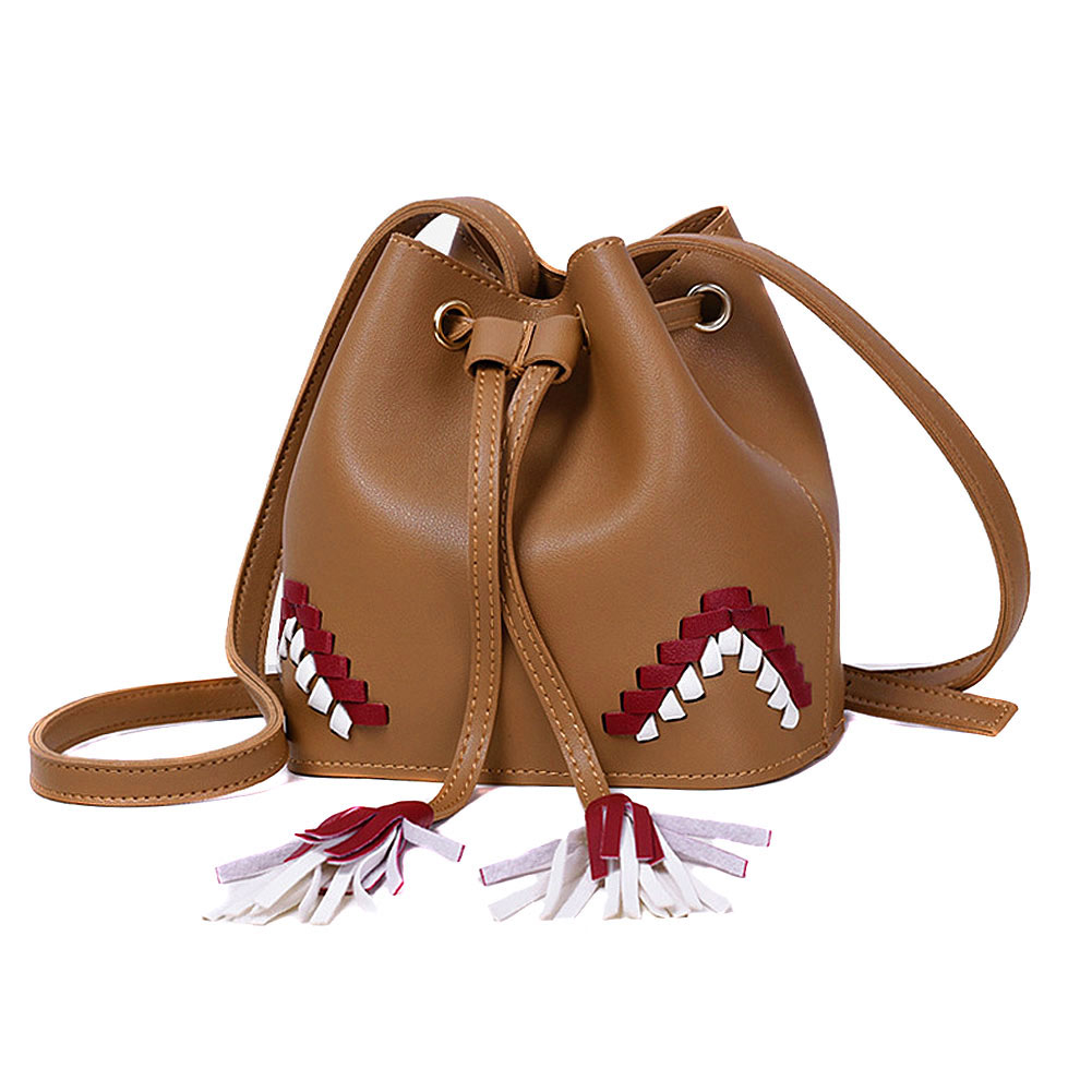 3e5ca1a4d11 Fashion Korean Women Retro Bucket Bag Leather Tassels Hit Color Drawstring  Ladies Crossbody Messenger Shoulder Bags AB W-in Shoulder Bags from Luggage  ...