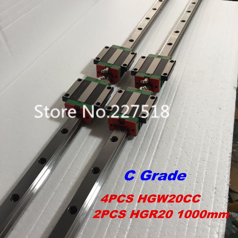 20mm Type 2pcs  HGR20 Linear Guide Rail L1000mm rail + 4pcs carriage Block HGW20CC blocks for cnc router tbi 2pcs trh20 1000mm linear guide rail 4pcs trh20fe linear block for cnc