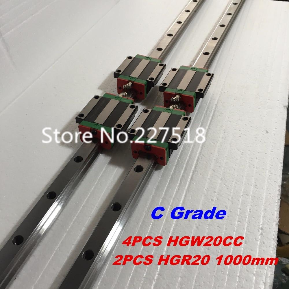 20mm Type 2pcs HGR20 Linear Guide Rail L1000mm rail + 4pcs carriage Block HGW20CC blocks for cnc router cnc guide rails 5pcs hiwin hgr20 linear rail 1600mm 10pcs hgw20cc carriage