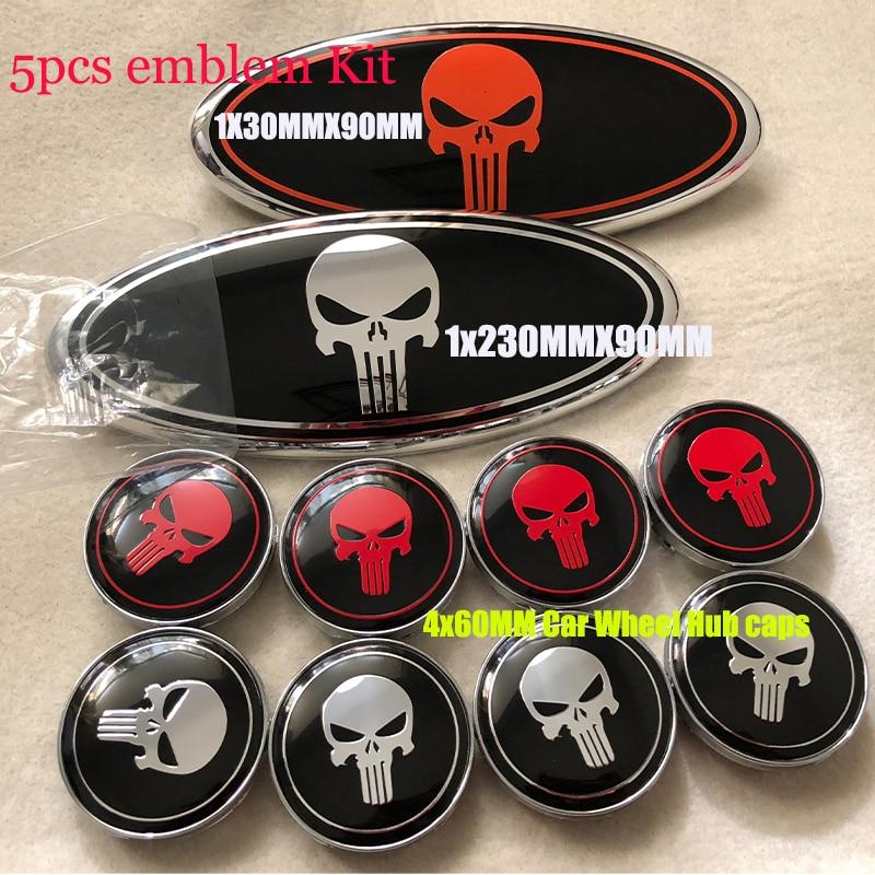 5pcs/lot Car Emblem Front Hood Bonnet Grill Badge 230mmX90MM Car Wheel Hub Caps 60MM 56MM Punisher logo Rims Label Эмблема