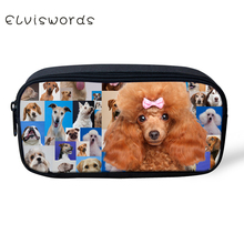 ELVISWORDS Pencil bags Lovely Dog Print pencil case School Office Supplies Students Stationery Pouch Pen Storage Organizer Cute 1 pc lovely annoy shiba dog pu large pencil case stationery storage organizer bag school office supply escolar