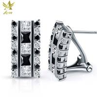 ANGG Fashion Square Black & White Cuts Earrings 925 Sterling Silver Jewelry for Women Wedding and Party Vintage Clip Earring