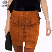 Vintage Autumn Fashion Women Skirt Suede Leather Lace-up Winter Short Skirt Fashion High Waist Casual Pencil Pocket Mini Skirts