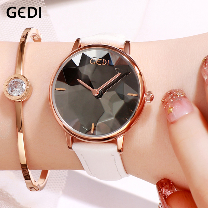 GEDI Fashion  Ladies Watch 2019 New Women Watches Simple Dial Leather Strap Clock Woman Female Wrist Watch Reloj Mujer