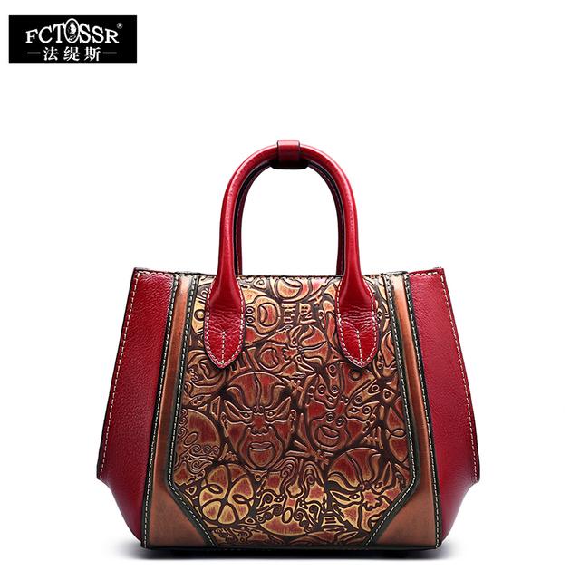 2017 Handmade Women's Handbag Genuine Leather Tote Women Messenger Bag Vintage Facial Makeup Design Female Shoulder Bag Women