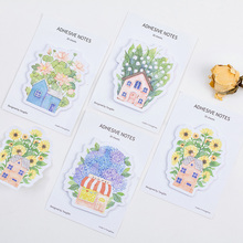 4 pcs/Lot Floral house memo pad Vintage flower post it diary sticker planner Stationery Office accessories School supplies CM702