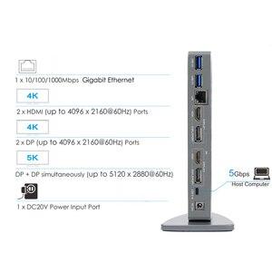 Image 3 - Универсальная док станция Wavlink, USB 3,0, 5K, Dual 4K, HDMI, HD, гигабитный Ethernet, Тип C, USB 3,0, для MAC